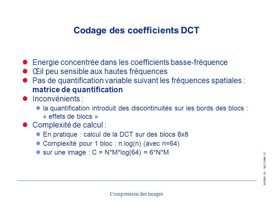 10/2003 SB – NEXTAMP 87 Compression des images Codage des coefficients DCT Energie concentrée dans les coefficients basse-fréquence Œil peu sensible a