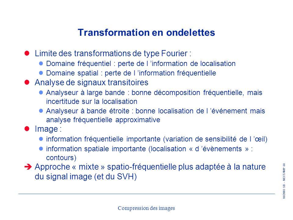 10/2003 SB – NEXTAMP 88 Compression des images Transformation en ondelettes Limite des transformations de type Fourier : l Domaine fréquentiel : perte