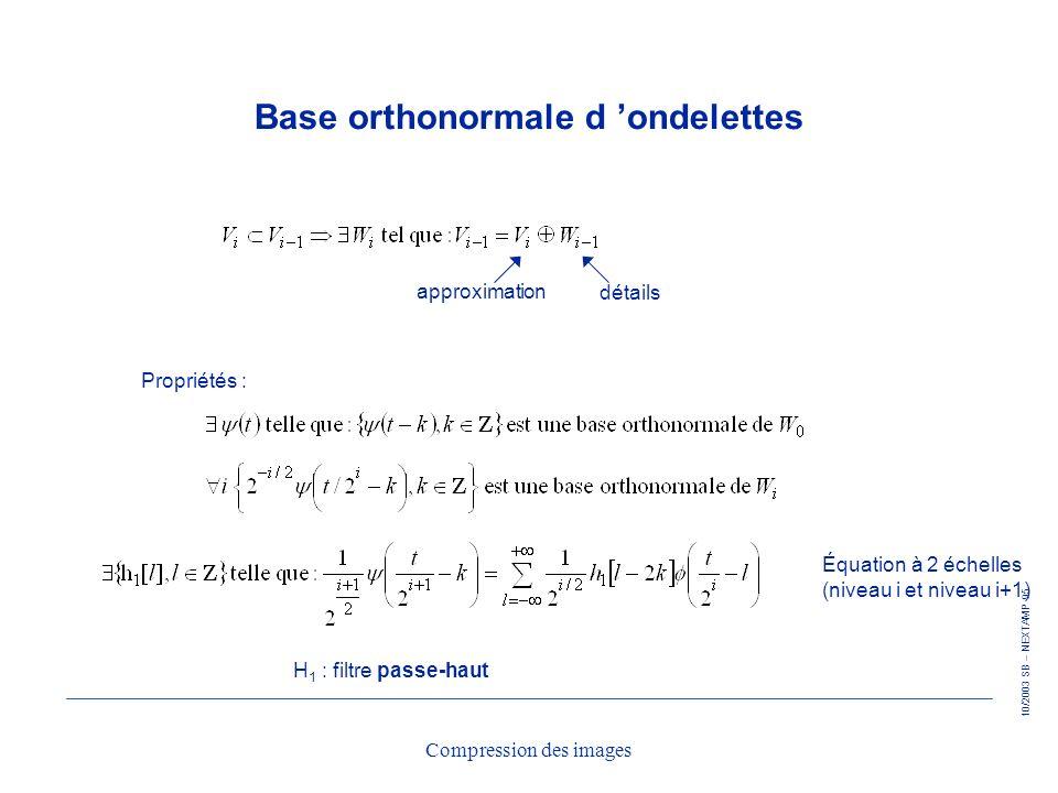 10/2003 SB – NEXTAMP 95 Compression des images Base orthonormale d ondelettes approximation détails Propriétés : Équation à 2 échelles (niveau i et ni