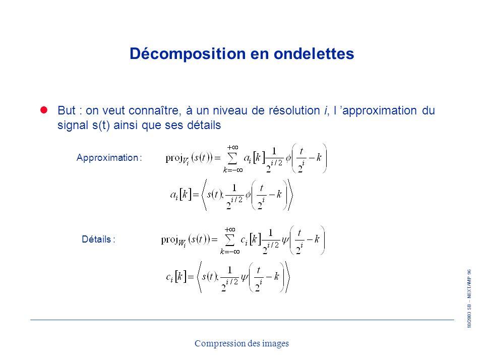 10/2003 SB – NEXTAMP 96 Compression des images Décomposition en ondelettes But : on veut connaître, à un niveau de résolution i, l approximation du si