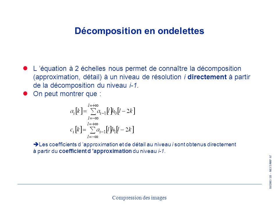 10/2003 SB – NEXTAMP 97 Compression des images Décomposition en ondelettes L équation à 2 échelles nous permet de connaître la décomposition (approxim