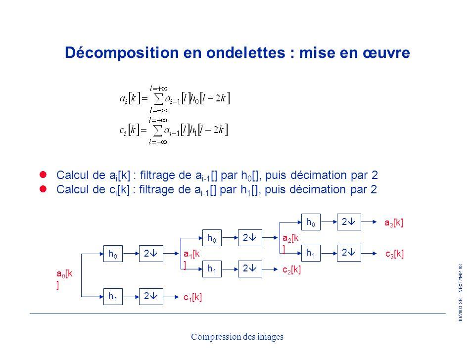 10/2003 SB – NEXTAMP 98 Compression des images Décomposition en ondelettes : mise en œuvre Calcul de a i [k] : filtrage de a i-1 [] par h 0 [], puis d