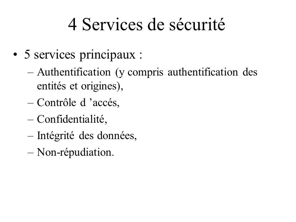 4 Services de sécurité 5 services principaux : –Authentification (y compris authentification des entités et origines), –Contrôle d accés, –Confidentia
