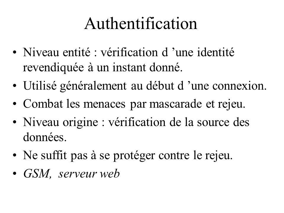 Authentification Niveau entité : vérification d une identité revendiquée à un instant donné. Utilisé généralement au début d une connexion. Combat les