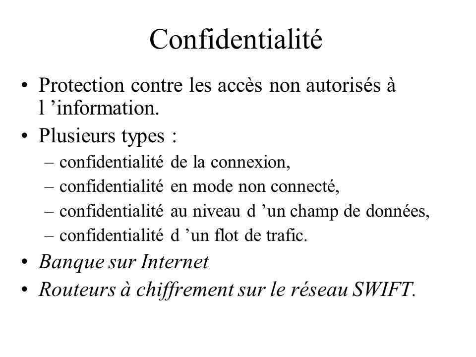 Confidentialité Protection contre les accès non autorisés à l information. Plusieurs types : –confidentialité de la connexion, –confidentialité en mod