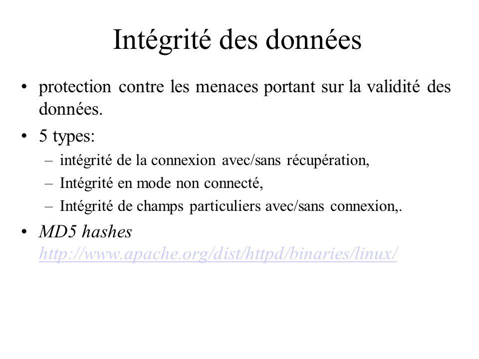Intégrité des données protection contre les menaces portant sur la validité des données. 5 types: –intégrité de la connexion avec/sans récupération, –