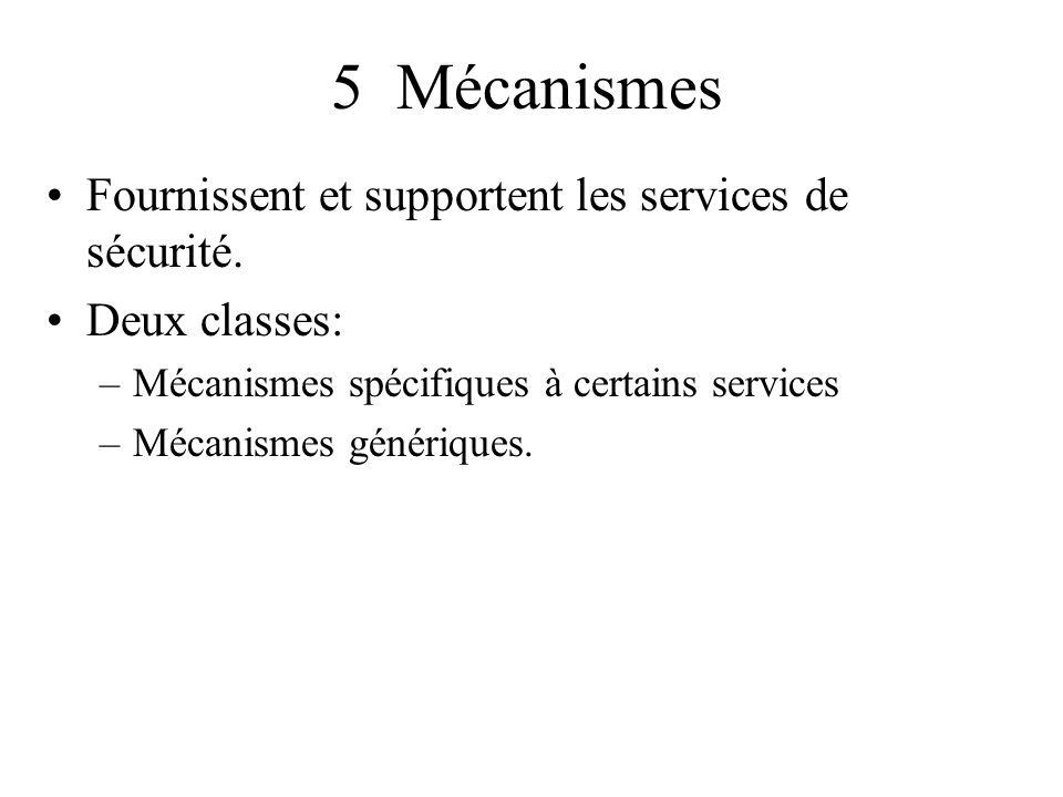 5 Mécanismes Fournissent et supportent les services de sécurité. Deux classes: –Mécanismes spécifiques à certains services –Mécanismes génériques.