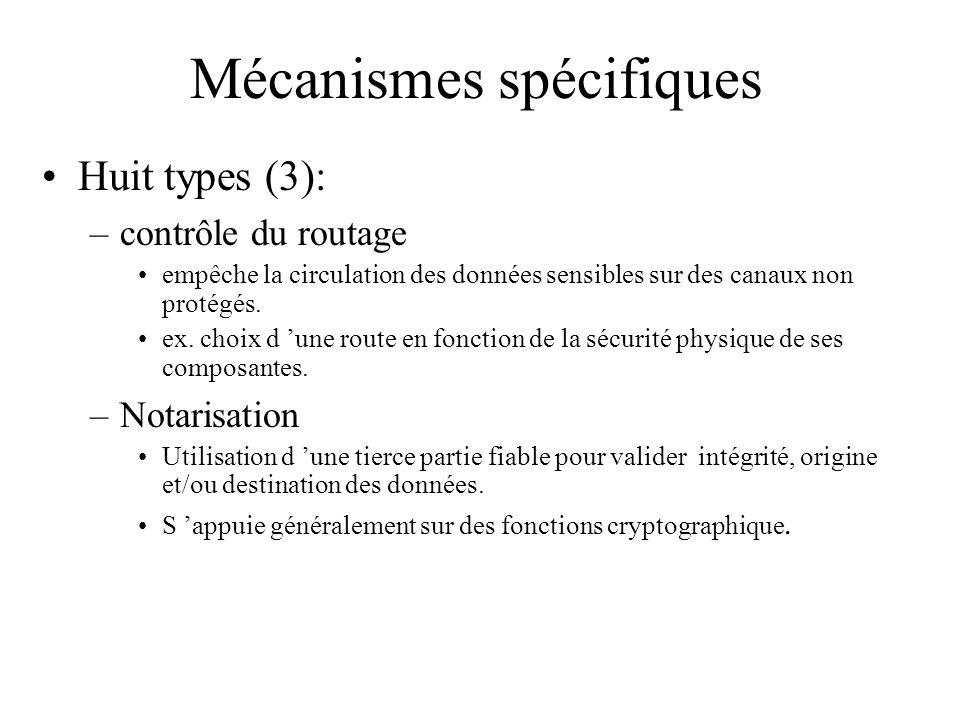 Mécanismes spécifiques Huit types (3): –contrôle du routage empêche la circulation des données sensibles sur des canaux non protégés. ex. choix d une