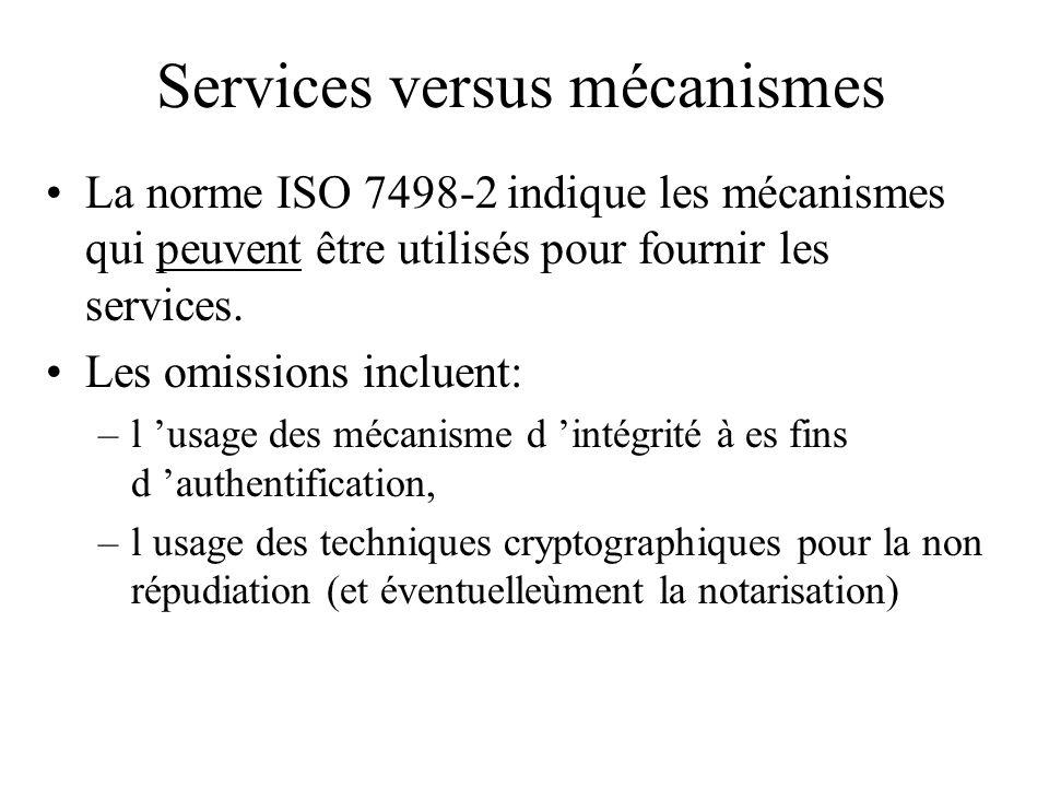 Services versus mécanismes La norme ISO 7498-2 indique les mécanismes qui peuvent être utilisés pour fournir les services. Les omissions incluent: –l