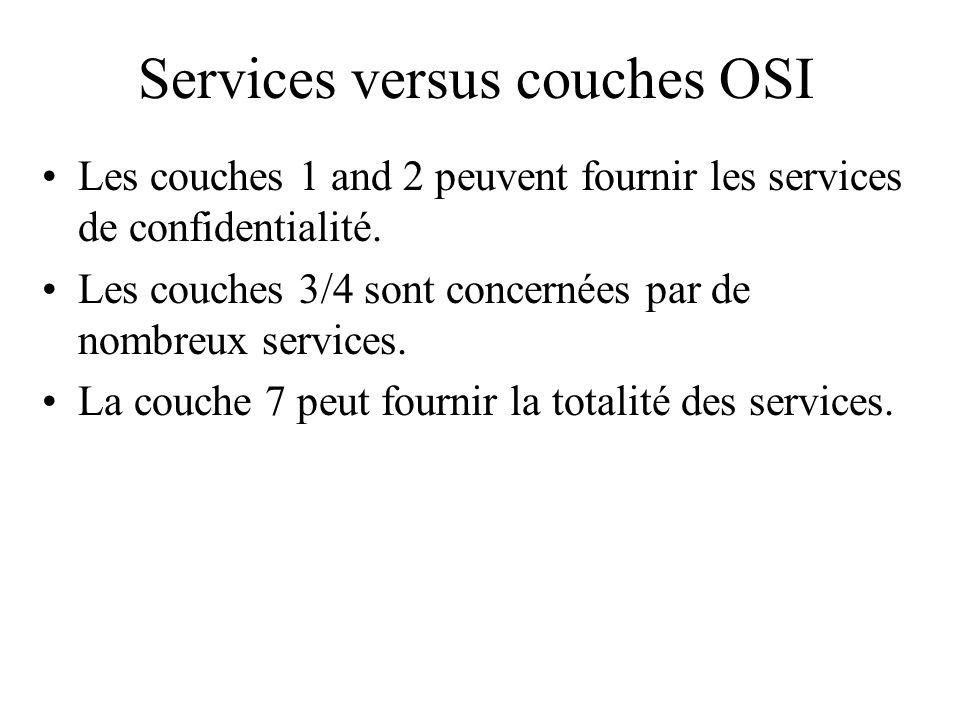 Services versus couches OSI Les couches 1 and 2 peuvent fournir les services de confidentialité. Les couches 3/4 sont concernées par de nombreux servi