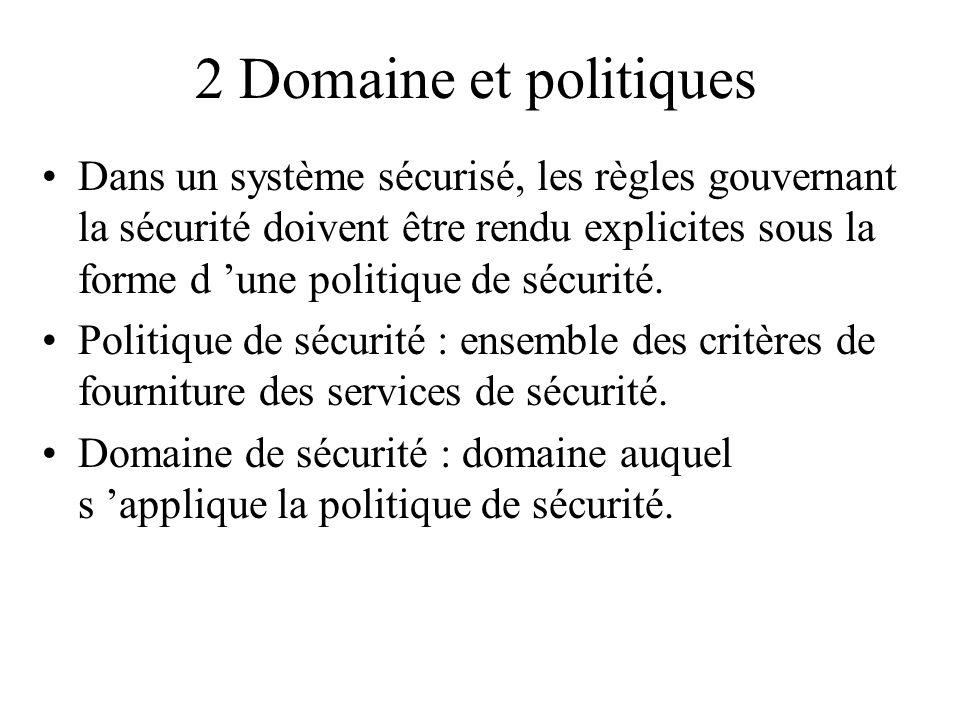 2 Domaine et politiques Dans un système sécurisé, les règles gouvernant la sécurité doivent être rendu explicites sous la forme d une politique de séc