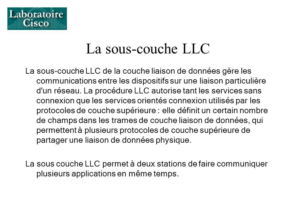 La sous-couche LLC La sous-couche LLC de la couche liaison de données gère les communications entre les dispositifs sur une liaison particulière d'un