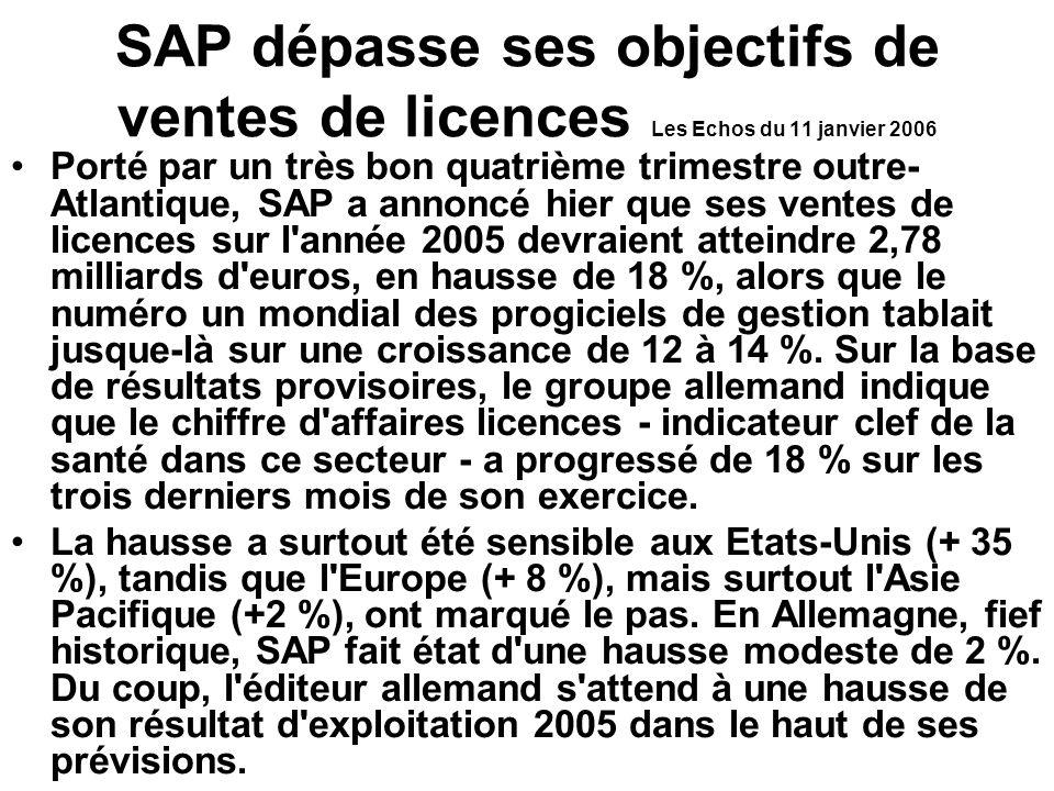 SAP dépasse ses objectifs de ventes de licences Les Echos du 11 janvier 2006 Porté par un très bon quatrième trimestre outre- Atlantique, SAP a annoncé hier que ses ventes de licences sur l année 2005 devraient atteindre 2,78 milliards d euros, en hausse de 18 %, alors que le numéro un mondial des progiciels de gestion tablait jusque-là sur une croissance de 12 à 14 %.