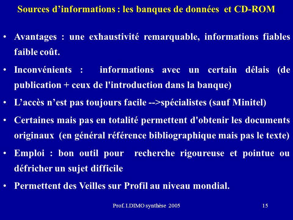 Prof. I.DIMO synthèse 200515 Sources dinformations : les banques de données et CD-ROM Avantages : une exhaustivité remarquable, informations fiables f
