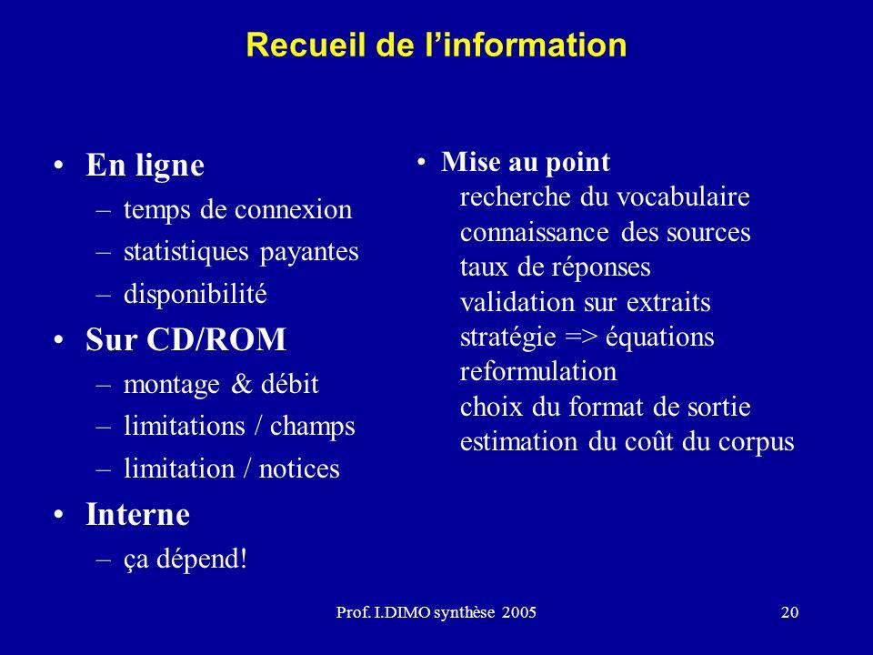 Prof. I.DIMO synthèse 200520 En ligne –temps de connexion –statistiques payantes –disponibilité Sur CD/ROM –montage & débit –limitations / champs –lim