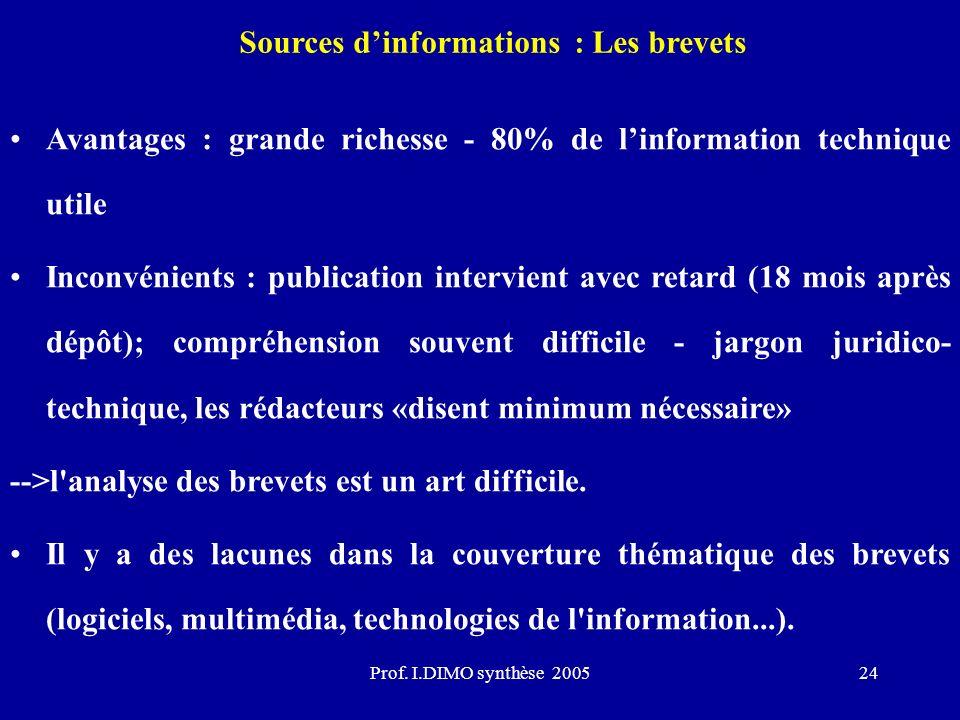 Prof. I.DIMO synthèse 200524 Sources dinformations : Les brevets Avantages : grande richesse - 80% de linformation technique utile Inconvénients : pub