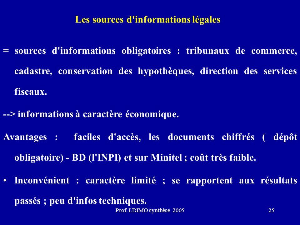 Prof. I.DIMO synthèse 200525 Les sources d'informations légales = sources d'informations obligatoires : tribunaux de commerce, cadastre, conservation