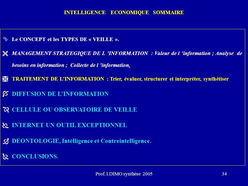Prof. I.DIMO synthèse 200534 INTELLIGENCE ECONOMIQUE SOMMAIRE ÊLe CONCEPT et les TYPES DE « VEILLE ». ËMANAGEMENT STRATEGIQUE DE L INFORMATION : Valeu