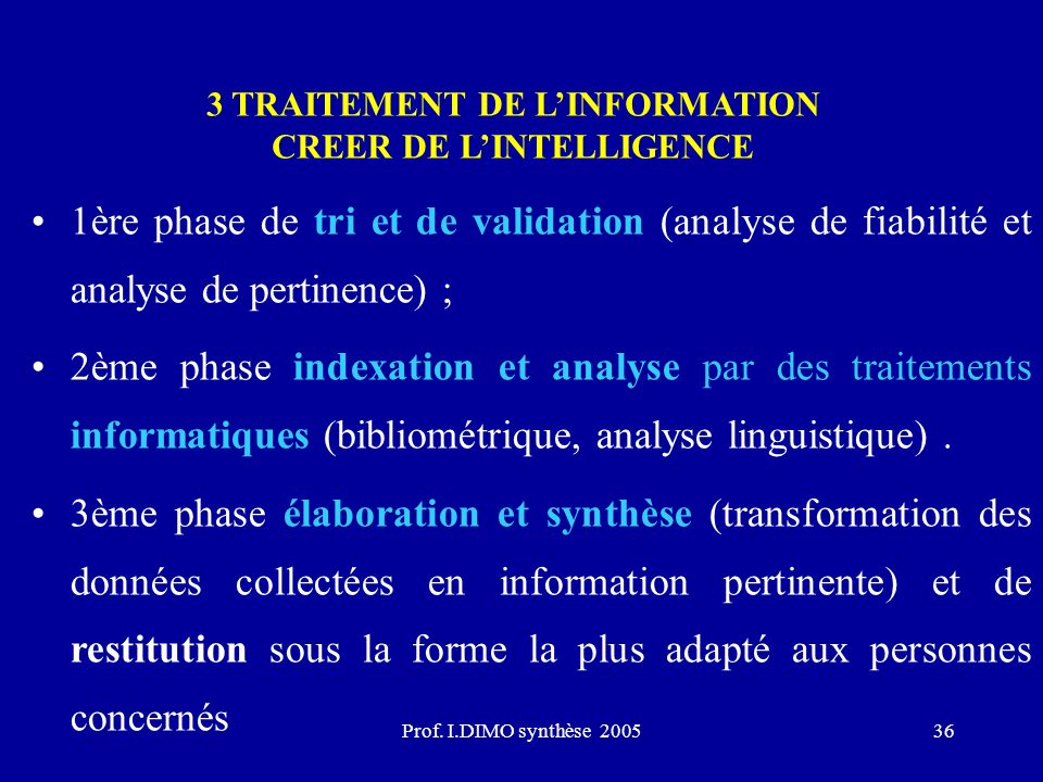 Prof. I.DIMO synthèse 200536 3 TRAITEMENT DE LINFORMATION CREER DE LINTELLIGENCE 1ère phase de tri et de validation (analyse de fiabilité et analyse d