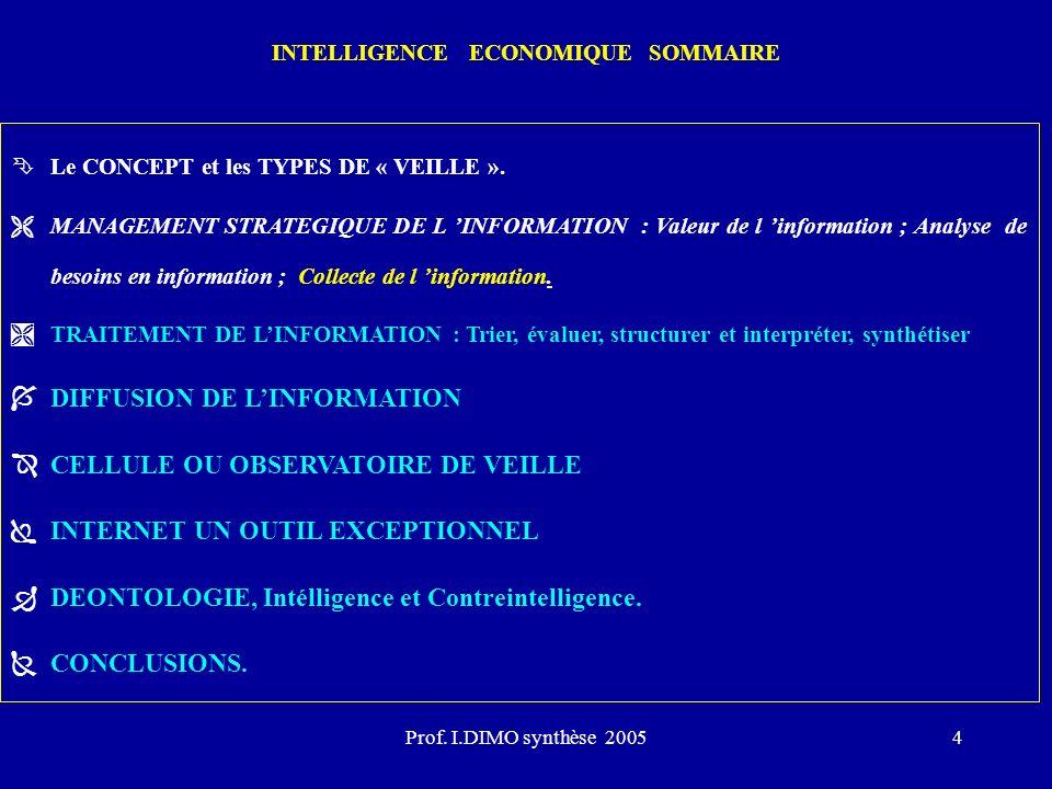 Prof. I.DIMO synthèse 20054 INTELLIGENCE ECONOMIQUE SOMMAIRE ÊLe CONCEPT et les TYPES DE « VEILLE ». ËMANAGEMENT STRATEGIQUE DE L INFORMATION : Valeur