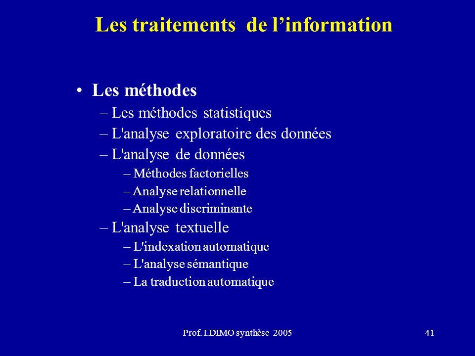 Prof. I.DIMO synthèse 200541 Les traitements de linformation Les méthodes – Les méthodes statistiques – L'analyse exploratoire des données – L'analyse