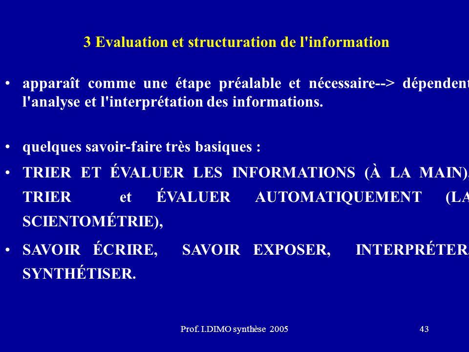 Prof. I.DIMO synthèse 200543 3 Evaluation et structuration de l'information apparaît comme une étape préalable et nécessaire--> dépendent l'analyse et