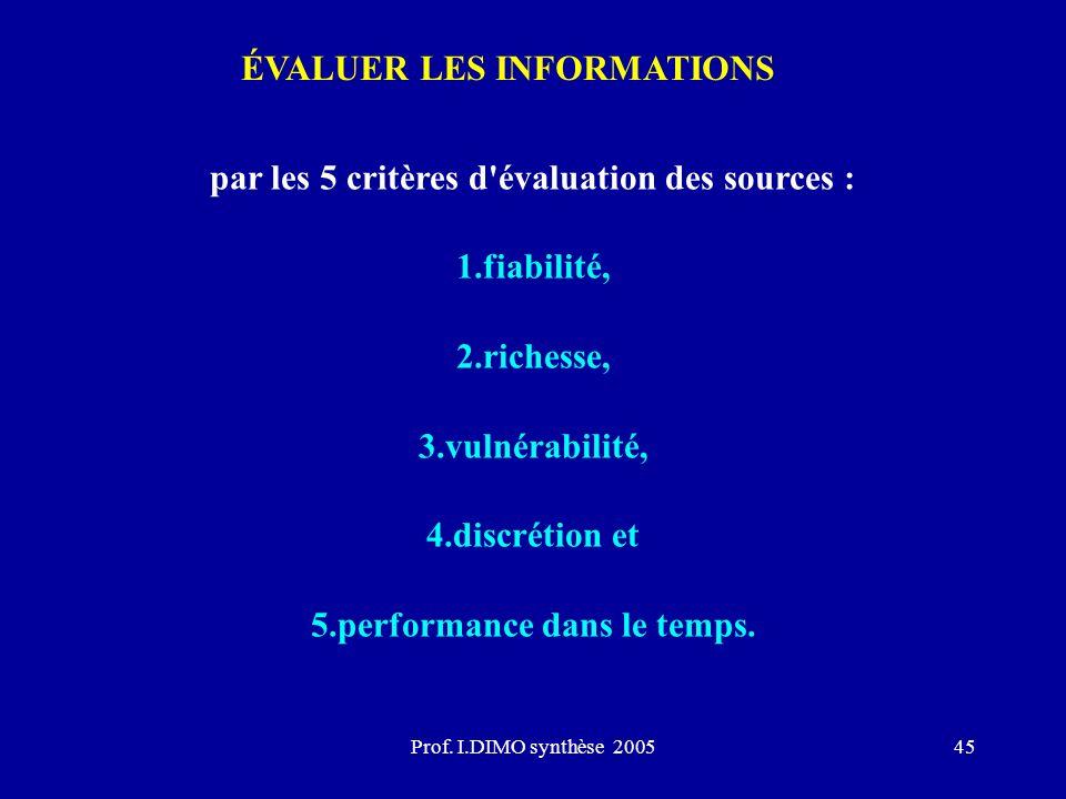 Prof. I.DIMO synthèse 200545 ÉVALUER LES INFORMATIONS par les 5 critères d'évaluation des sources : 1.fiabilité, 2.richesse, 3.vulnérabilité, 4.discré