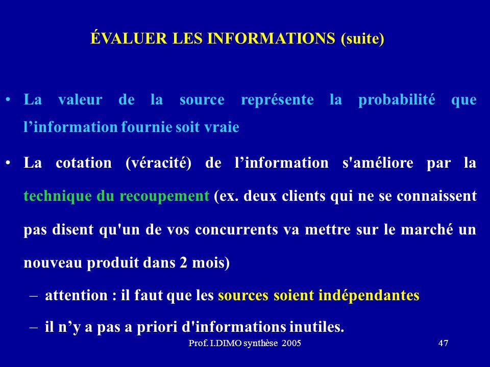 Prof. I.DIMO synthèse 200547 ÉVALUER LES INFORMATIONS (suite) La valeur de la source représente la probabilité que linformation fournie soit vraie La