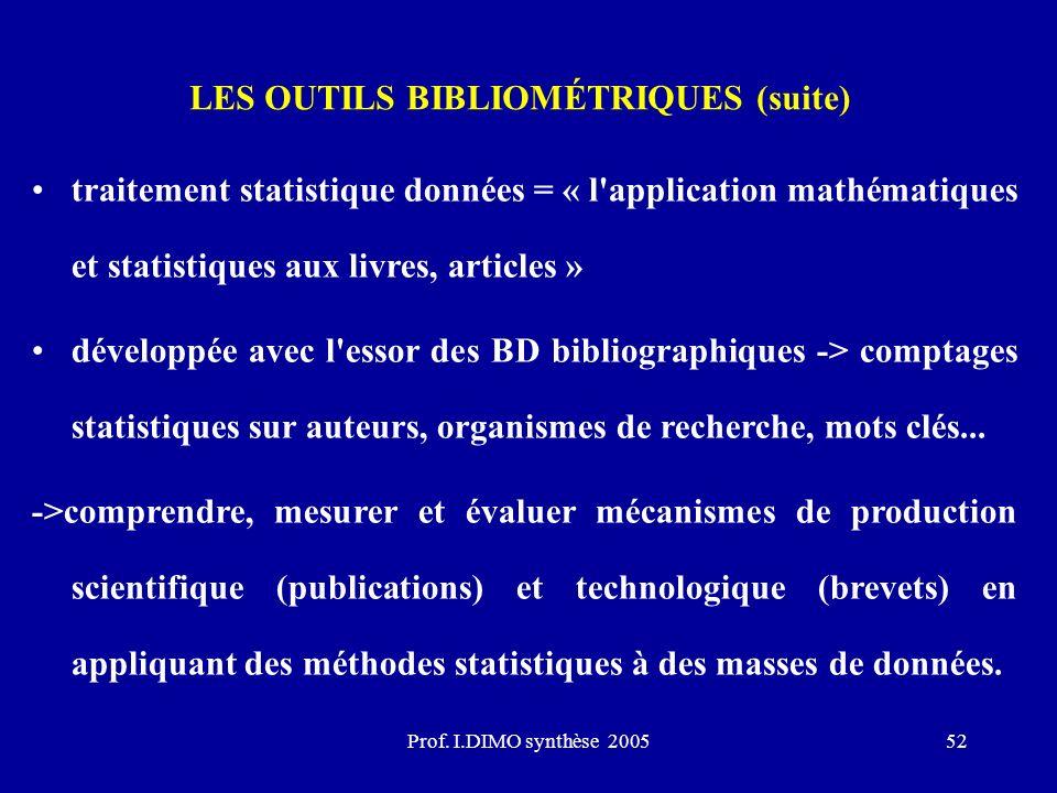 Prof. I.DIMO synthèse 200552 LES OUTILS BIBLIOMÉTRIQUES (suite) traitement statistique données = « l'application mathématiques et statistiques aux liv