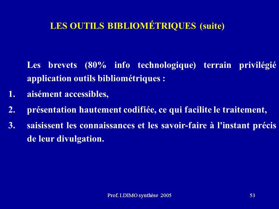 Prof. I.DIMO synthèse 200553 LES OUTILS BIBLIOMÉTRIQUES (suite) Les brevets (80% info technologique) terrain privilégié application outils bibliométri