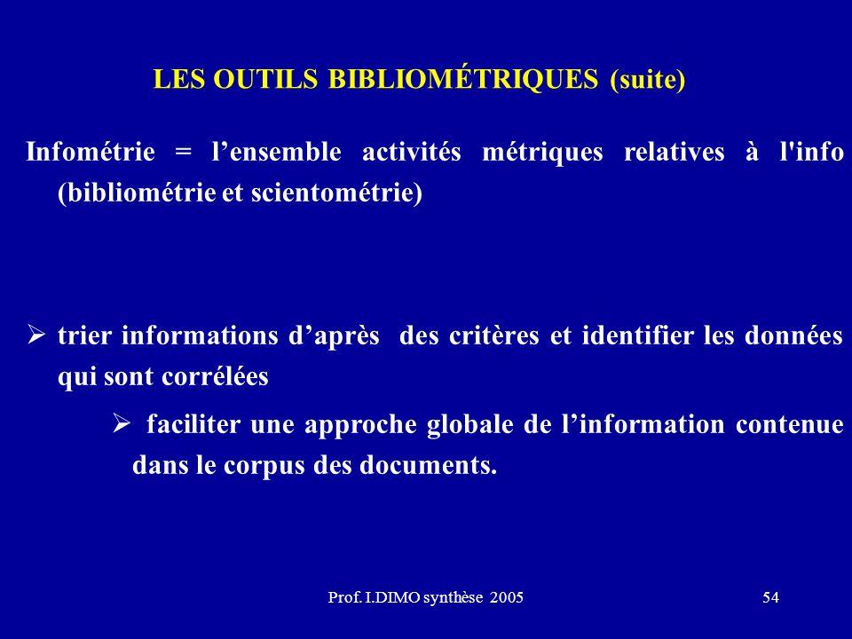 Prof. I.DIMO synthèse 200554 LES OUTILS BIBLIOMÉTRIQUES (suite) Infométrie = lensemble activités métriques relatives à l'info (bibliométrie et sciento