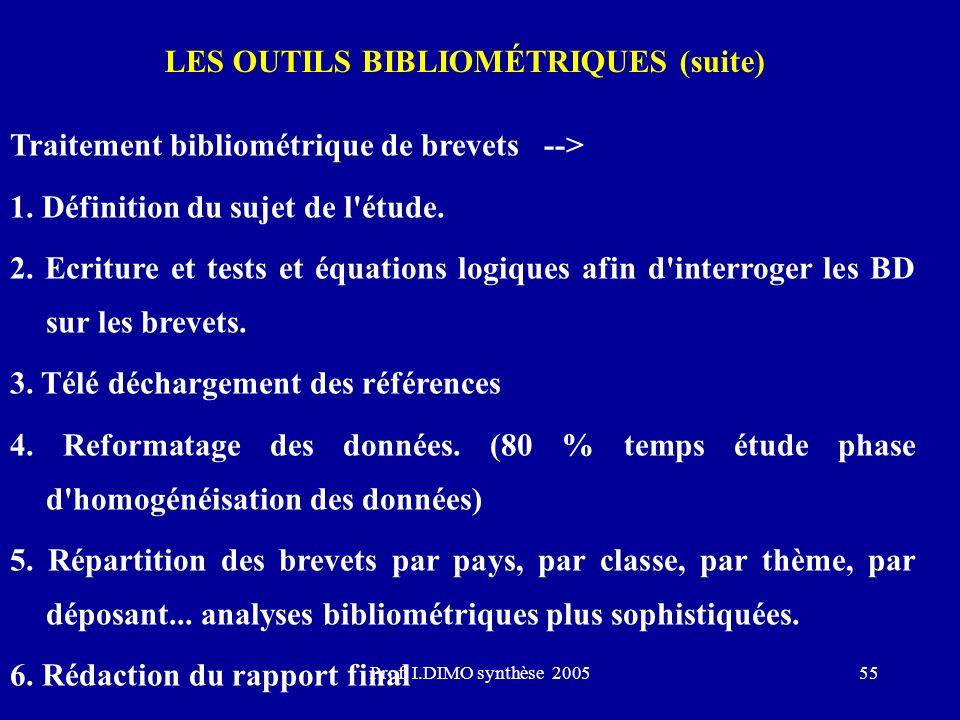 Prof. I.DIMO synthèse 200555 LES OUTILS BIBLIOMÉTRIQUES (suite) Traitement bibliométrique de brevets --> 1. Définition du sujet de l'étude. 2. Ecritur