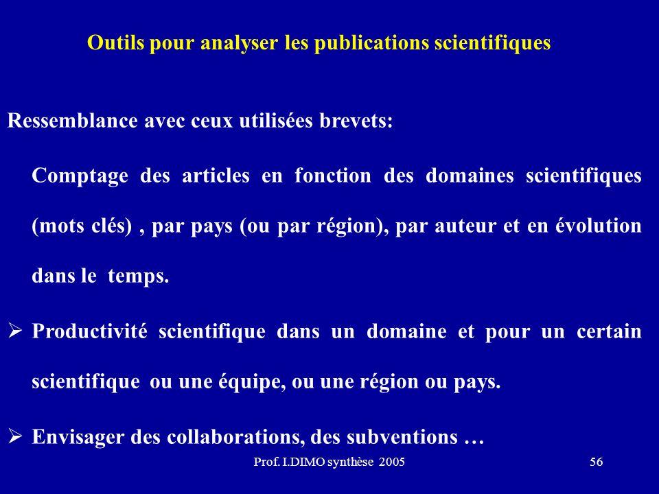 Prof. I.DIMO synthèse 200556 Outils pour analyser les publications scientifiques Ressemblance avec ceux utilisées brevets: Comptage des articles en fo