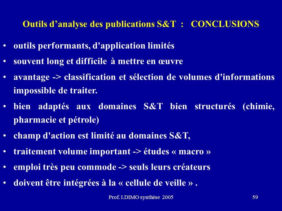 Prof. I.DIMO synthèse 200559 Outils danalyse des publications S&T : CONCLUSIONS outils performants, d'application limités souvent long et difficile à