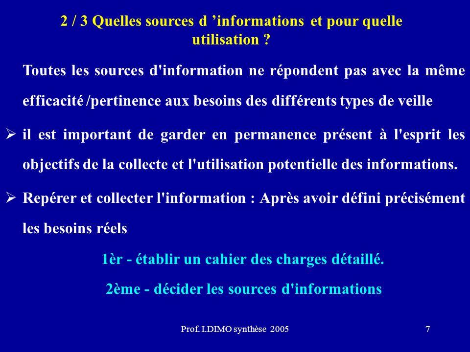 Prof. I.DIMO synthèse 20057 2 / 3 Quelles sources d informations et pour quelle utilisation ? Toutes les sources d'information ne répondent pas avec l