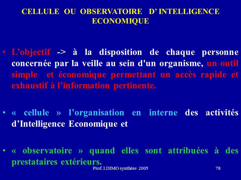 Prof. I.DIMO synthèse 200578 CELLULE OU OBSERVATOIRE D INTELLIGENCE ECONOMIQUE Lobjectif -> à la disposition de chaque personne concernée par la veill