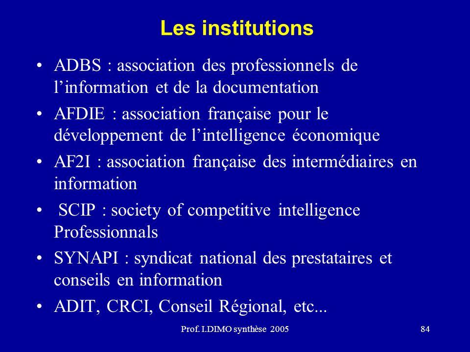 Prof. I.DIMO synthèse 200584 Les institutions ADBS : association des professionnels de linformation et de la documentation AFDIE : association françai