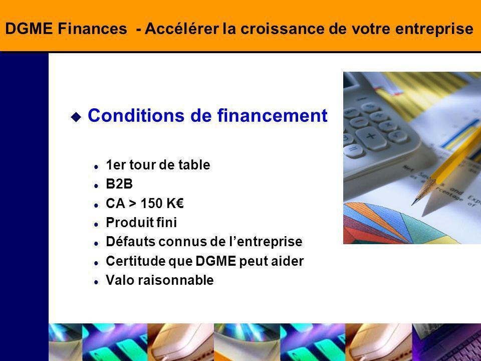 DGME Finances - Accélérer la croissance de votre entreprise Conditions de financement 1er tour de table B2B CA > 150 K Produit fini Défauts connus de lentreprise Certitude que DGME peut aider Valo raisonnable