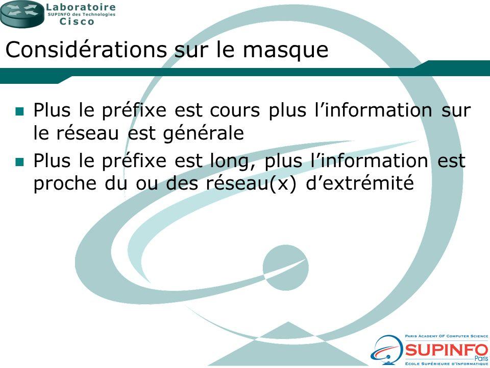 Considérations sur le masque Plus le préfixe est cours plus linformation sur le réseau est générale Plus le préfixe est long, plus linformation est pr