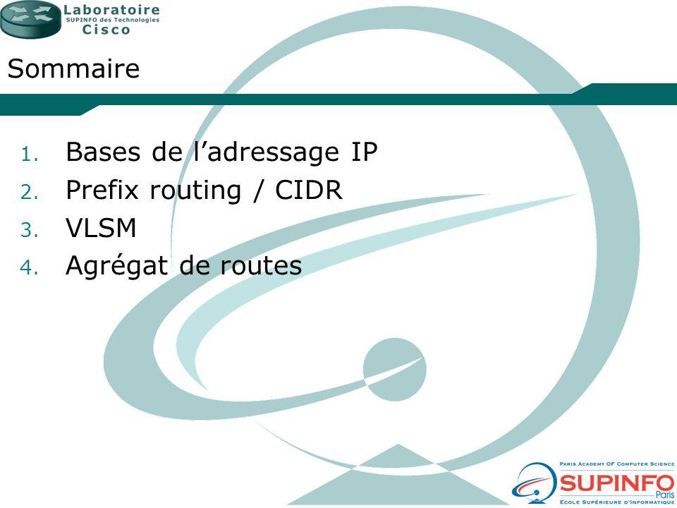 Sommaire 1. Bases de ladressage IP 2. Prefix routing / CIDR 3. VLSM 4. Agrégat de routes