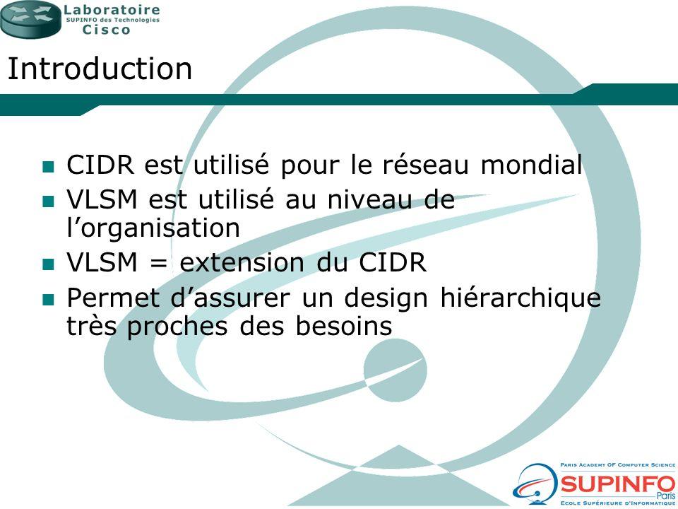 Introduction CIDR est utilisé pour le réseau mondial VLSM est utilisé au niveau de lorganisation VLSM = extension du CIDR Permet dassurer un design hi