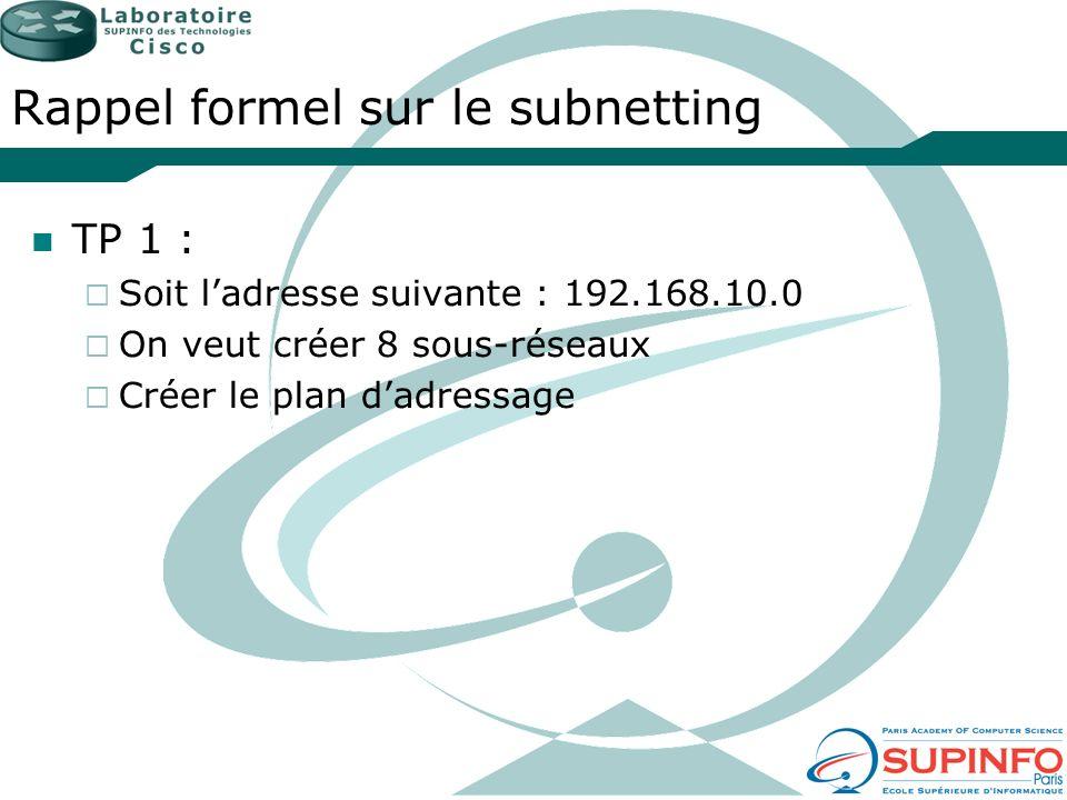 Rappel formel sur le subnetting TP 1 : Soit ladresse suivante : 192.168.10.0 On veut créer 8 sous-réseaux Créer le plan dadressage