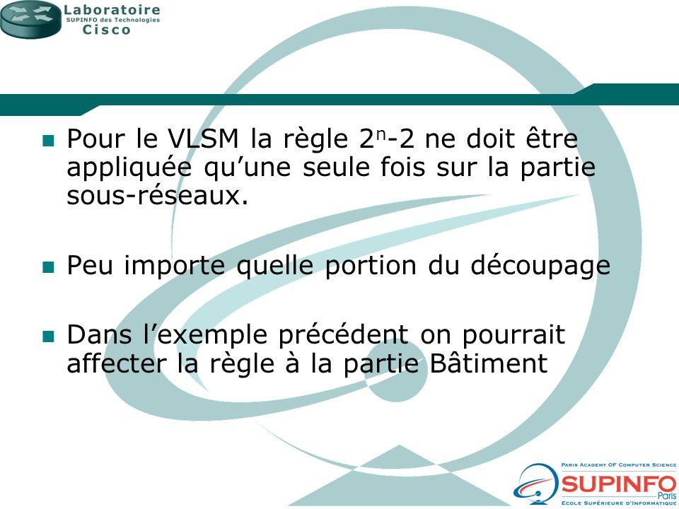 Pour le VLSM la règle 2 n -2 ne doit être appliquée quune seule fois sur la partie sous-réseaux. Peu importe quelle portion du découpage Dans lexemple