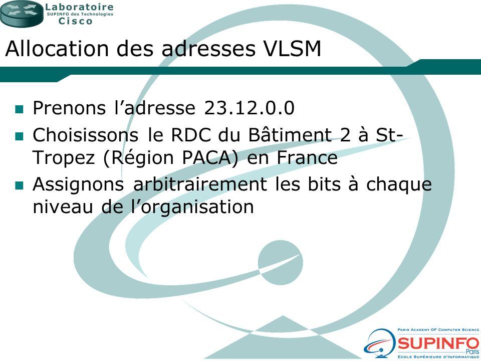 Allocation des adresses VLSM Prenons ladresse 23.12.0.0 Choisissons le RDC du Bâtiment 2 à St- Tropez (Région PACA) en France Assignons arbitrairement