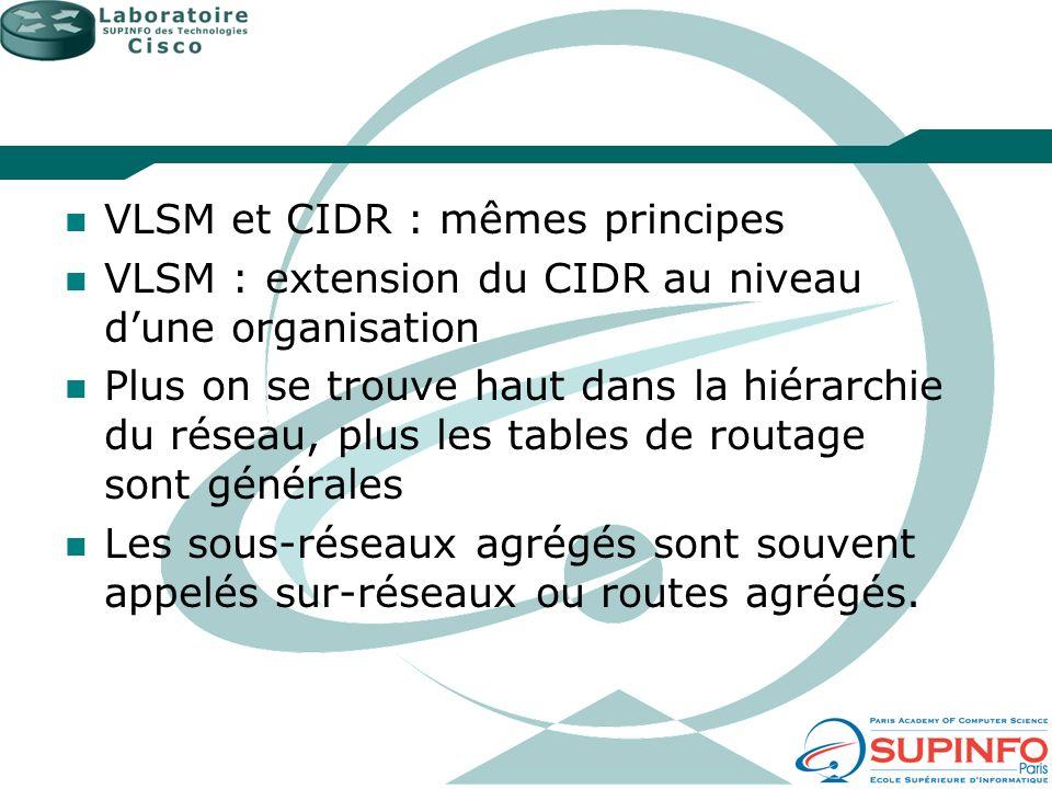 VLSM et CIDR : mêmes principes VLSM : extension du CIDR au niveau dune organisation Plus on se trouve haut dans la hiérarchie du réseau, plus les tabl