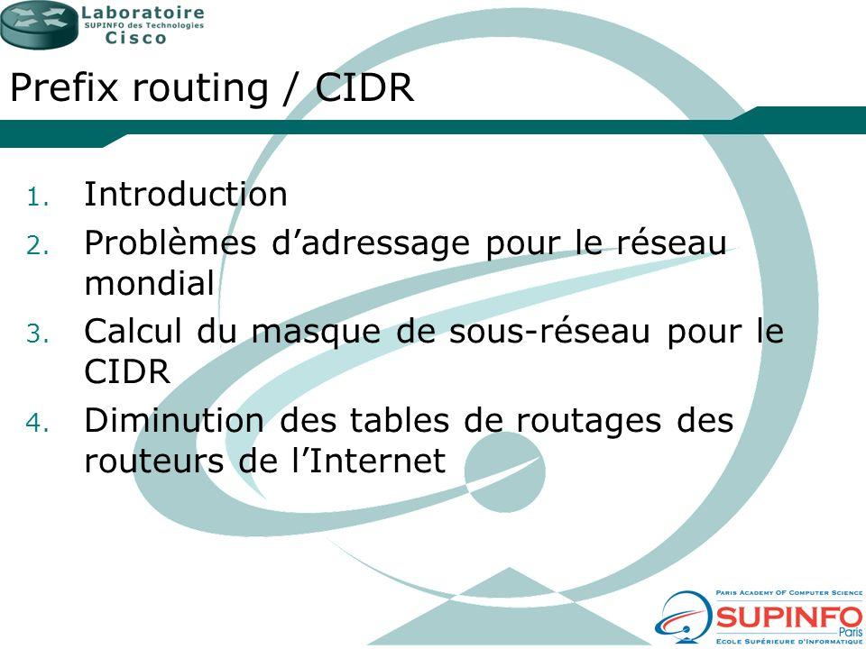 Prefix routing / CIDR 1. Introduction 2. Problèmes dadressage pour le réseau mondial 3. Calcul du masque de sous-réseau pour le CIDR 4. Diminution des