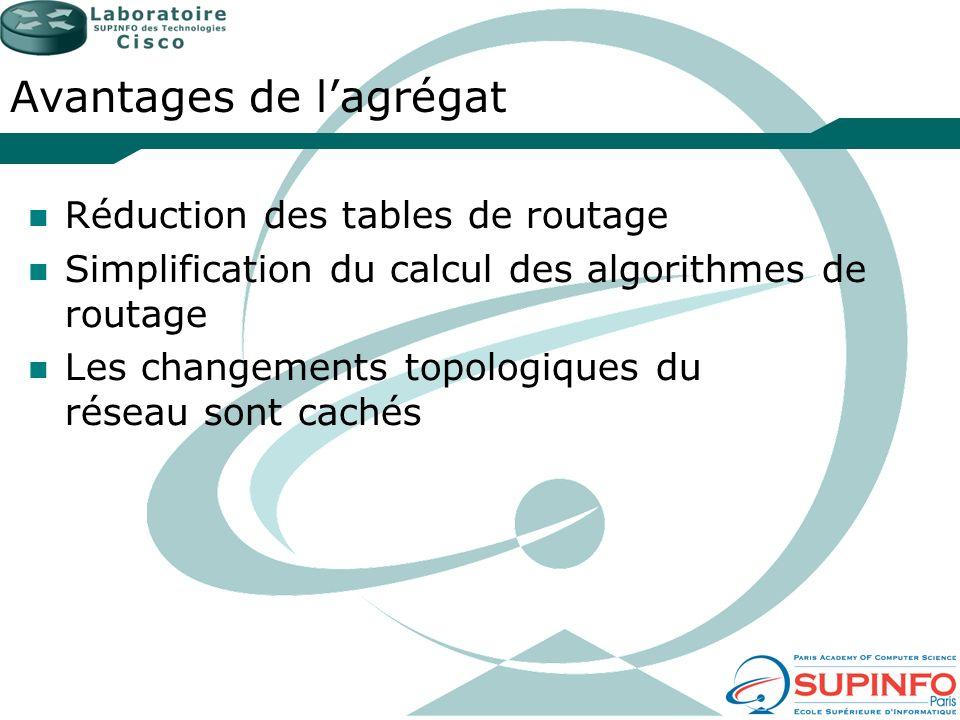 Avantages de lagrégat Réduction des tables de routage Simplification du calcul des algorithmes de routage Les changements topologiques du réseau sont