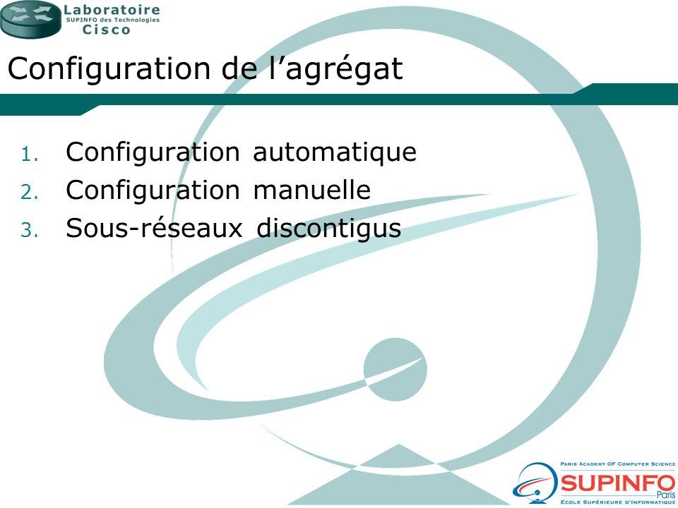 Configuration de lagrégat 1. Configuration automatique 2. Configuration manuelle 3. Sous-réseaux discontigus