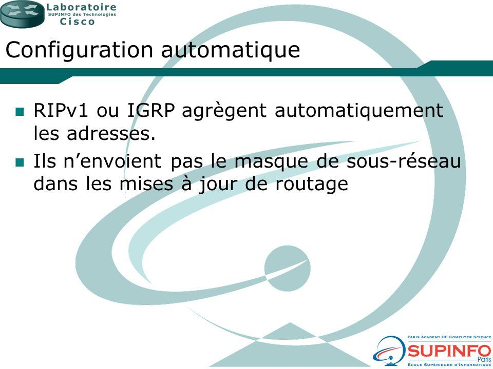 Configuration automatique RIPv1 ou IGRP agrègent automatiquement les adresses. Ils nenvoient pas le masque de sous-réseau dans les mises à jour de rou