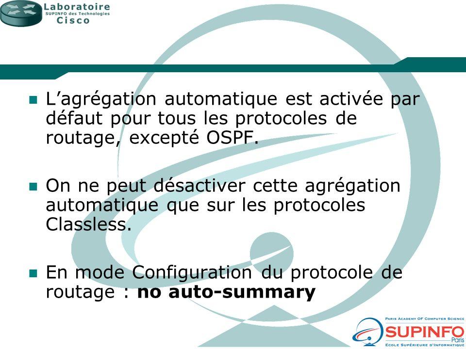 Lagrégation automatique est activée par défaut pour tous les protocoles de routage, excepté OSPF. On ne peut désactiver cette agrégation automatique q
